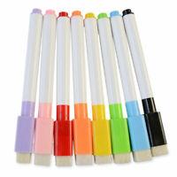 Set Of 8 Color Magnet Pens Magnetic Dry Wipe White Erase Board Built Marker U0P1