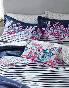 Joules Home Cottage Garden Border Stripe Floral Cushion - Pink Floral - One Size
