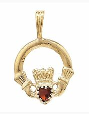 """9ct Gold Claddagh Pendant With Red CZ & 18"""" 9ct Gold Curb Chain REDUCED Free P&P"""