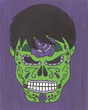 Incredible Hulk Day of the Dead print 8X10, Comic character and Pop Art