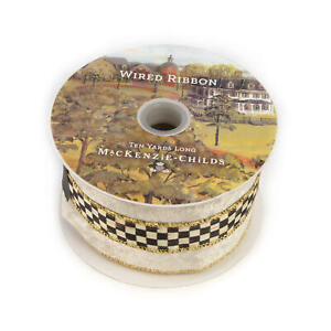 "Mackenzie Childs 3"" Wide COURTLY Check VELVET RIBBON CREAM Spool NEW $58 m20-de"