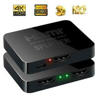 Full HD 4K HDMI Splitter 1X2 2 Ports Repeater Amplifier Hub 3D 1080p 1 In 2 Out