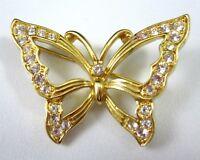 Monet Butterfly Pin Brooch Goldtone Rhinestone Outline Vintage 1970s