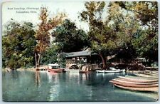 "Columbus, Ohio Postcard ""Boat Landing, Olentangy Park"" Boathouse Boating c1910s"