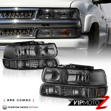 For 99-02 Chevy Silverado Titanium Smoke Headlight+Bumper Turn Signal Lamp LH+RH