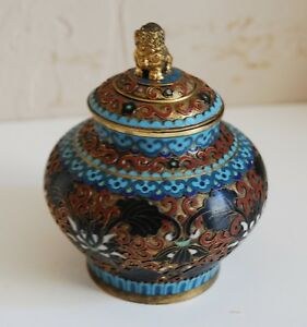 Openwork Cloisonne' Covered Jar with Lion Dog Finial