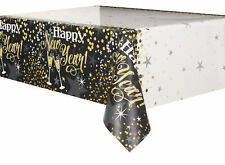 Black & Gold New Year Plastic Party Tablecover Celebration Tablecloth
