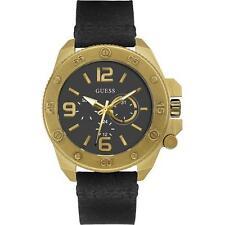 Guess Uomo Orologio Watch Man W0659G2 Viper Pelle Nero Cassa Oro Multifunzione