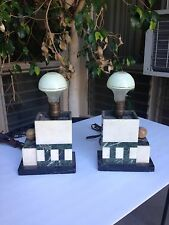 WOW Outstanding Art Deco Garniture Lamps Marble Onyx CLock Geometric