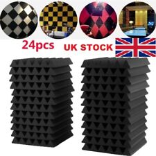 24PCS Acoustic Panels Tiles Studio Sound Proofing Insulation Closed Cell Foam UK