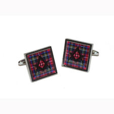 Cufflinks & Gift Pouch Royal Stewart Scottish Tartan with Masonic G design