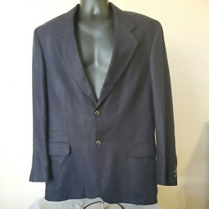 Eddie Bauer Mens 40R Navy Blue Belgian Linen 2 Button Blazer Suit Jacket