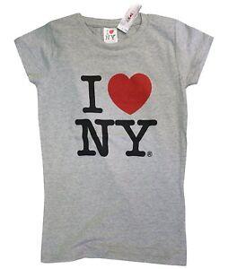 I Love NY New York Womens T-Shirt Spandex Tee Heart Gray Medium