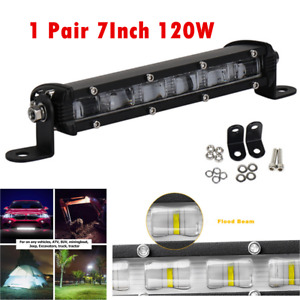 6D 7'' 120W LED Work Light Bar Waterproof Flood Beam Car Driving Back Up Lamps