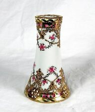 """Hand-Painted NIPPON 5"""" Hatpin Holder w/Moriage Gold Decoration + Pink Flowers"""