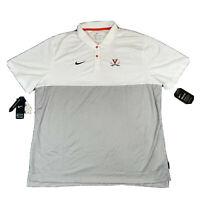 Nike UVA Virginia Cavaliers Dri-Fit Polo Shirt Golf Men's XXL White Gray