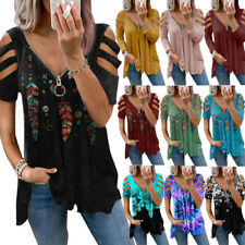 Womens Summer Cold Shoulder Swing Tee T Shirt Ladies Zip V Neck Tunic Top Blouse