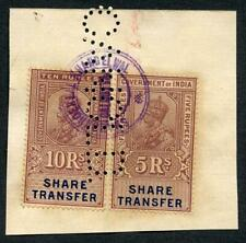 India KGV 2 x Share Transfer Revenue Stamps on piece