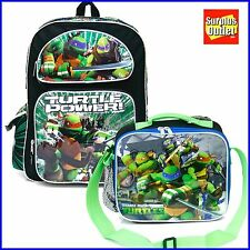 "Ninja Turtles 16"" Large School Backpack Lunch Bag 2pc Set"