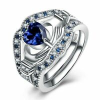 Elegant 925 Sterling Silber Ring Blau Zirkon Herz drei Stück Damen Geschenk Neu.
