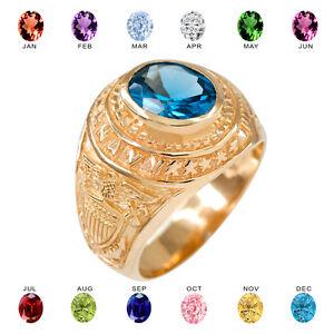 Solid 10k Yellow Gold US Navy Men's CZ Birthstone Ring
