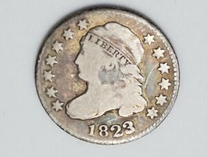 1823 Philadelphia Mint Silver Capped Bust Dime - Full Liberty - US Coin - Fine