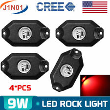 "4pcs 2"" 9W RED CREE LED Rock Work Light JEEP OffRoad Truck Rig Trailer ATV Light"