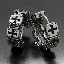 Men Biker Iron Cross 316L Stainless Steel Huggie Earrings