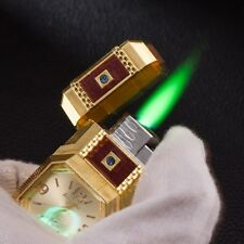 Fashion Metal Windproof Jet Torch Gas Cigarette Lighter Quartz Watch Gift Gold