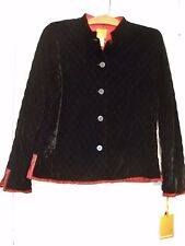 HEARTS OF PALM SZ 6 QUILTED VELVETEEN NEHRU-STYLE BUTTON FRONT JACKET W/VENTS