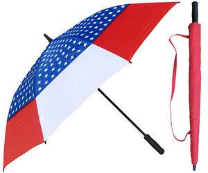 "60"" Arc American Flag Auto Golf Umbrella - RainStoppers Rain/Sun UV"
