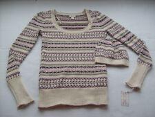 Angora Rabbit Soft Womens Pink Purple Holiday Scoop Sweater + Matching Hat Nwt M