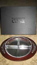 New In Box Hazorfim Oval Sterling Silver Mahogany Tray Judaica Great Gift!
