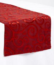 Velvet Scroll Red Christmas Holiday Table Runner