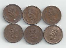 6 DIFFERENT 1 RUPEE COINS from PAKISTAN (1998, 1999, 2001, 2003, 2005 & 2006).