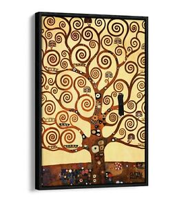 GUSTAV KLIMT TREE OF LIFE STOCLET -FLOAT EFFECT CANVAS WALL ART PIC PRINT- GOLD