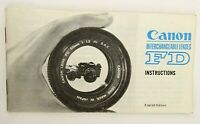 Canon Interchangeable Lenses FD Instructions Accessory Guide English