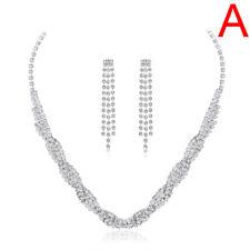 Fashion Wedding Bridal Silver Jewelry Crystal Rhinestone Necklace Earrings Se CO