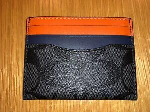 Genuine New Coach Leather Card Holder Wallet Purse Orange Grey Gift Box RRP $78