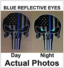 Thin Blue Line Punisher Skull Decal  Sticker Car Truck Jeep Police Officer Cop