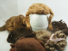 6 Baby Doll Human Hair Mohair wigs skull braids for Wig Making or doll Repair