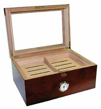 Rosewd Finish Glass top Humidor Holds 100 sticks Glass Hygrometer & Humidifier