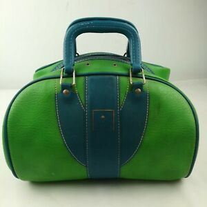 Vintage 1960s Brunswick Leather Green Blue Bowling Ball Duffel Bag Carry On