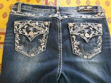 Grace in LA Women Jeans Mid Rise Flap Pocket Med Blue 17 x 32