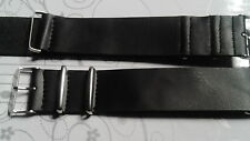 BRACELET MONTRE SIMILI CUIR 22mm NOIR   /* STYLE NATO 26CM /* REF/ BY 72