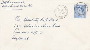 Canada 1957 FMO Victoria BC on 5c PSE to London UK