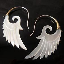 Wings Carved Shell Earrings .925 Sterling Silver Hook Tribal Boho Angel Jewelry