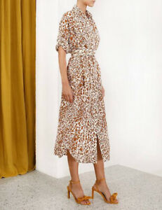 Zimmermann Silk Utiliy Dress, Leopard Print, Size 0