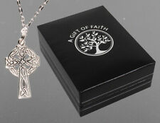 """925 Sterling Silver Celtic Open Cross - Necklace - Necklet  18"""" Chain Gift  Box"""