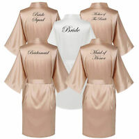 Wedding Bridesmaid Champagne Satin Robe Bride Team Maid of Honor Dressing Gown